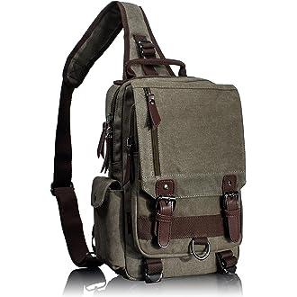 1bb55db1fbb4  1 Leaper Retro Messenger Bag Canvas Shoulder Backpack Travel Rucksack  Sling Bag