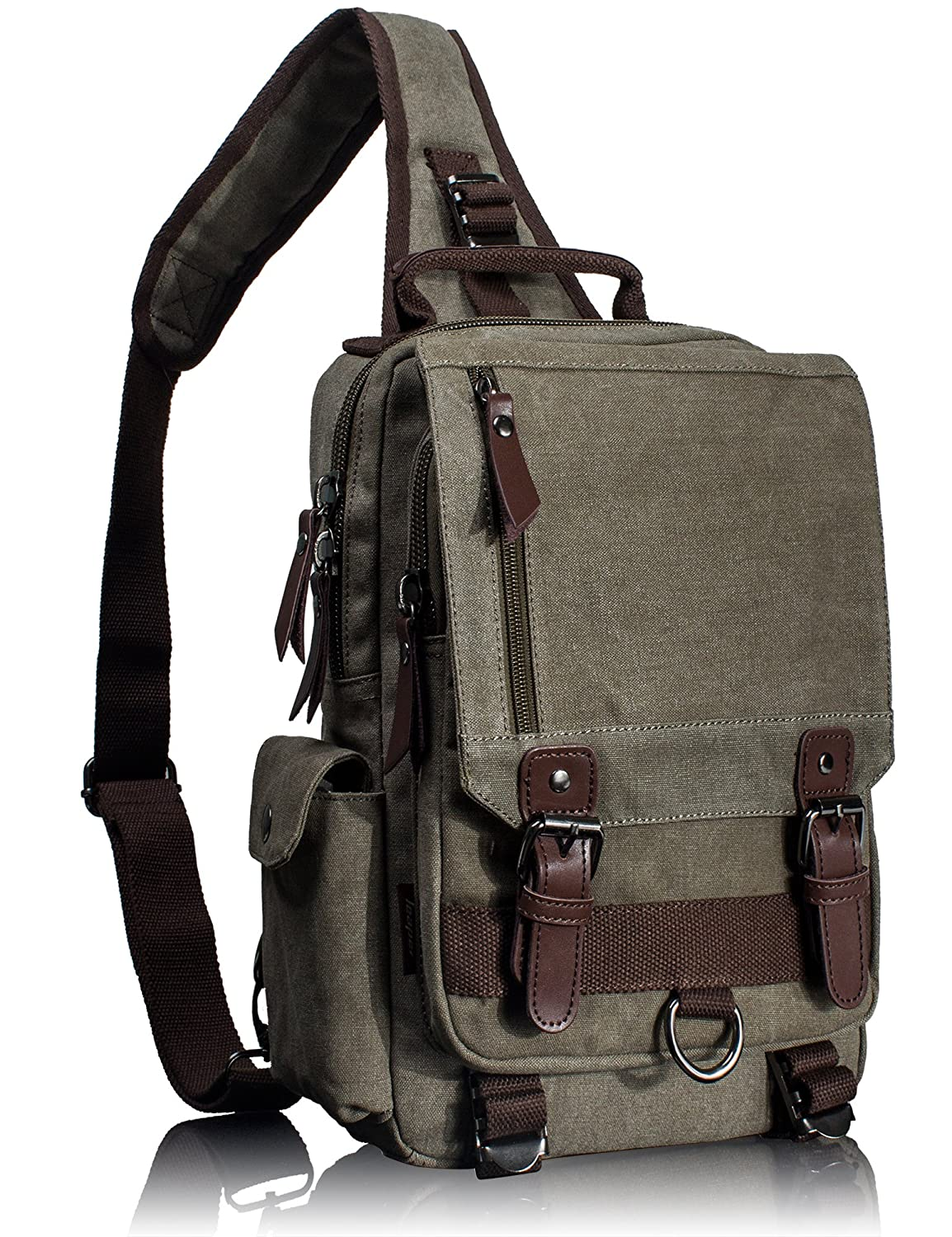 Leaper Canvas One Strap Sling Cross Body Messenger Bag Shoulder Backpack Rucksack Medium Coffee Fifth Season BP-2187