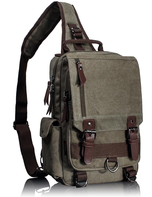 df1ac0449583 Amazon.com  Leaper Retro Messenger Bag Canvas Shoulder Backpack Travel  Rucksack Sling Bag  Clothing