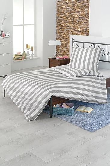 Schöne Streifen-Bettwäsche aus Baumwolle + Polyester weiß-grau ...