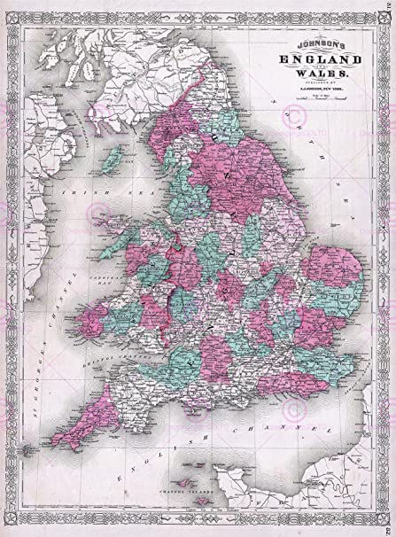 Amazon Com Map Antique 1867 Johnson Wales England Old Large Replica