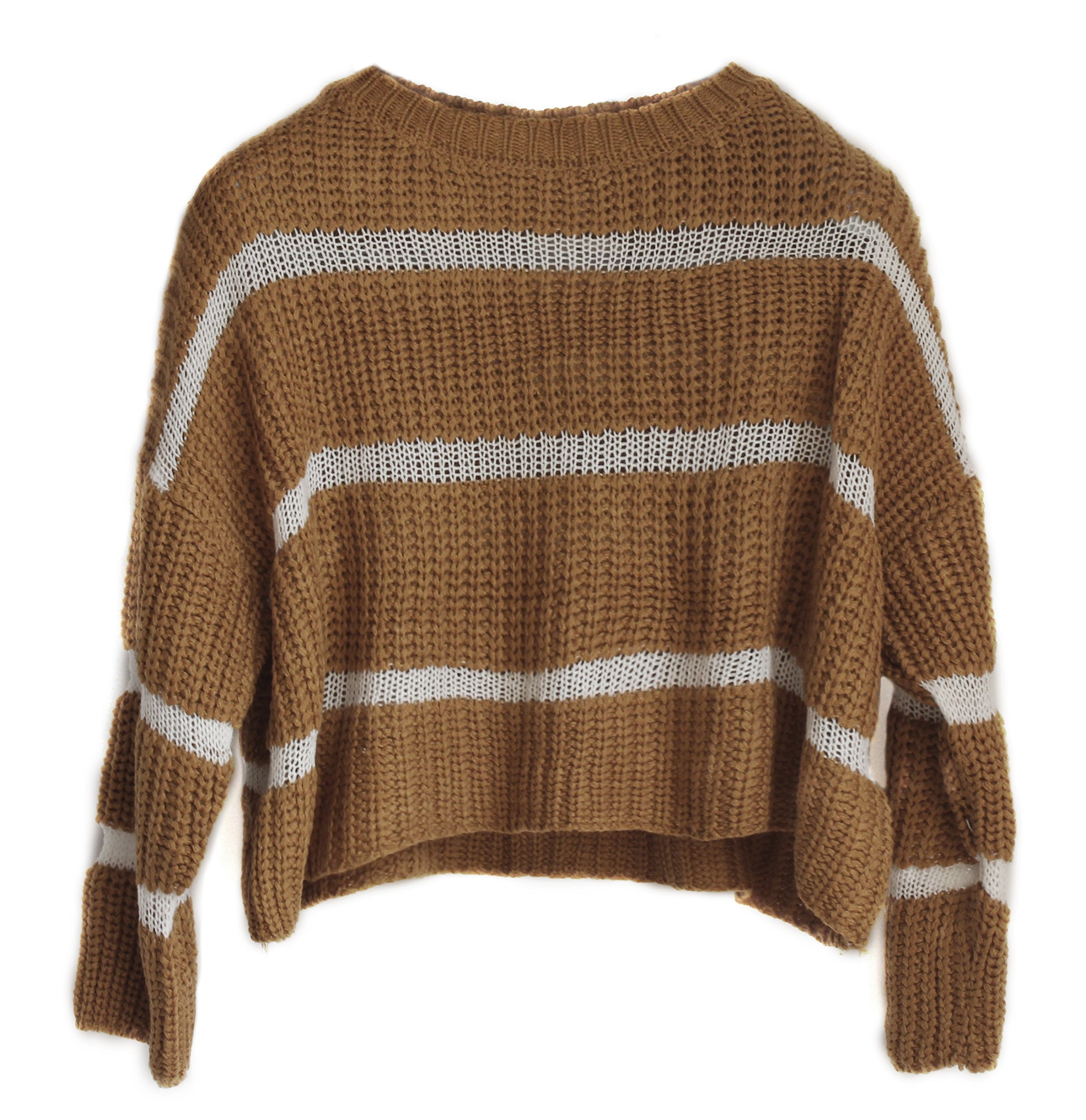 Goddess Area Women's Casual Long Sleeve Striped Knit Short Crop Pullover Tops Jumper Sweater Blouse (M, Khaki)