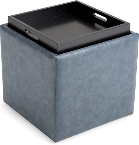 Simpli Home Rockwood 17 inch Wide Square Cube Storage Ottoman with Tray in Upholstered Denim Blue Faux Leather, Footrest Stool, Coffee Table for the Living Room, Bedroom and Kids Room, Contemporary