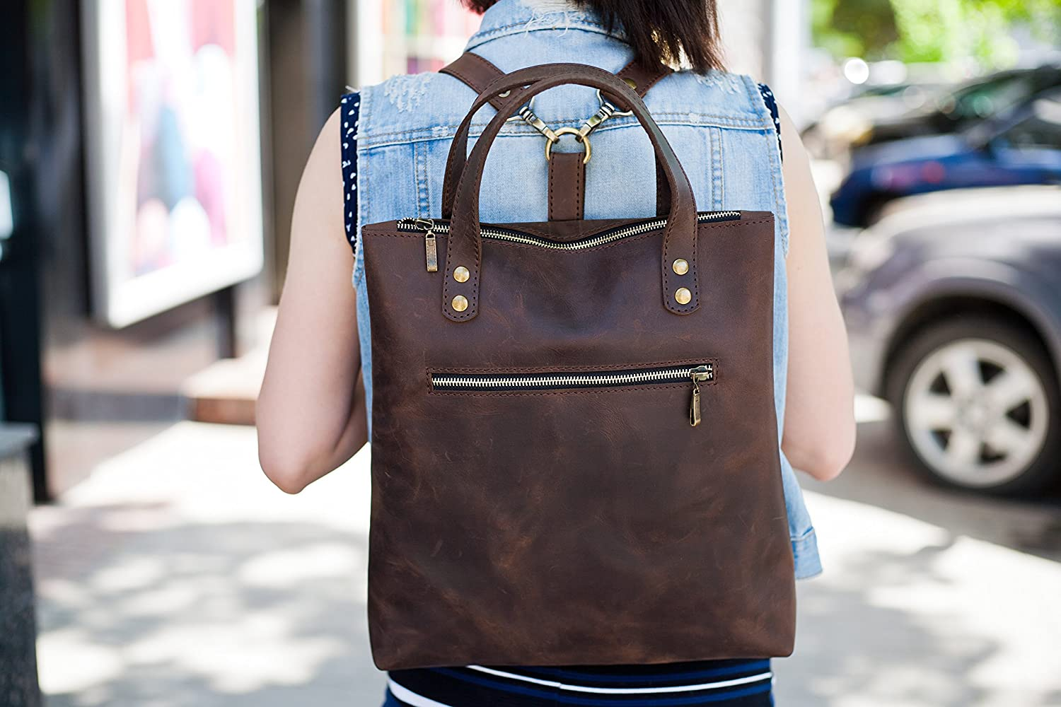 Leather backpack brown leather rucksack laptop leather tote bag