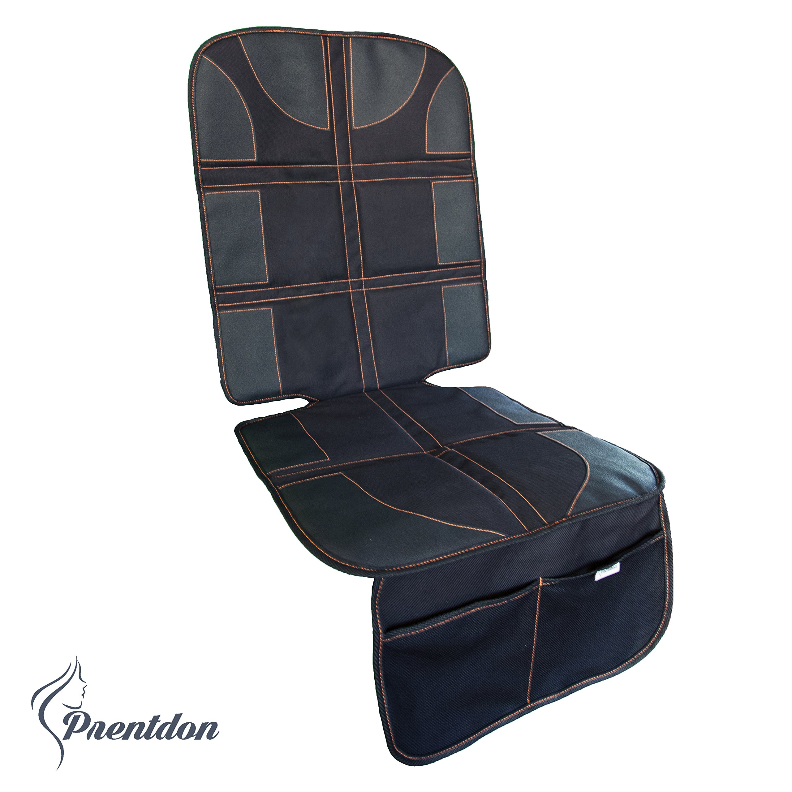 Car Seat Protector with PVC Leather Reinforced Corners & 2 Large Pockets for Handy Storage and Thickest Padding - Featuring Durable, Waterproof 600D Fabric Best Gift Idea