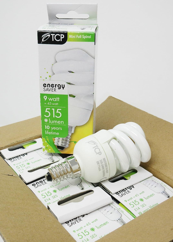 Bombilla de rosca pequeñ a Edison E14 SES T2, 6 unidades, TCP 9 W, E14 SES T2, luz blanca cá lida, equivalente a 45 W de vela y bola de repuesto luz blanca cálida