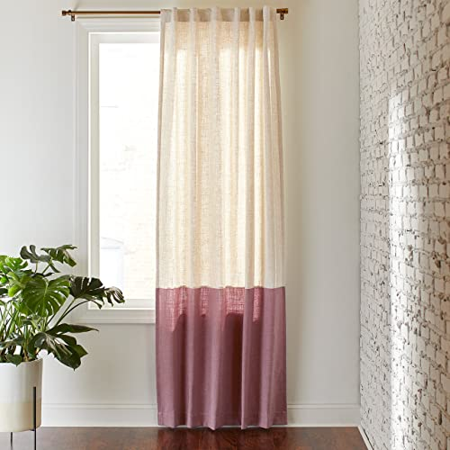 Amazon Brand Rivet Casual Two Toned Cotton Linen Curtain Panel with Back Tab – 52 x 84, Rose Linen