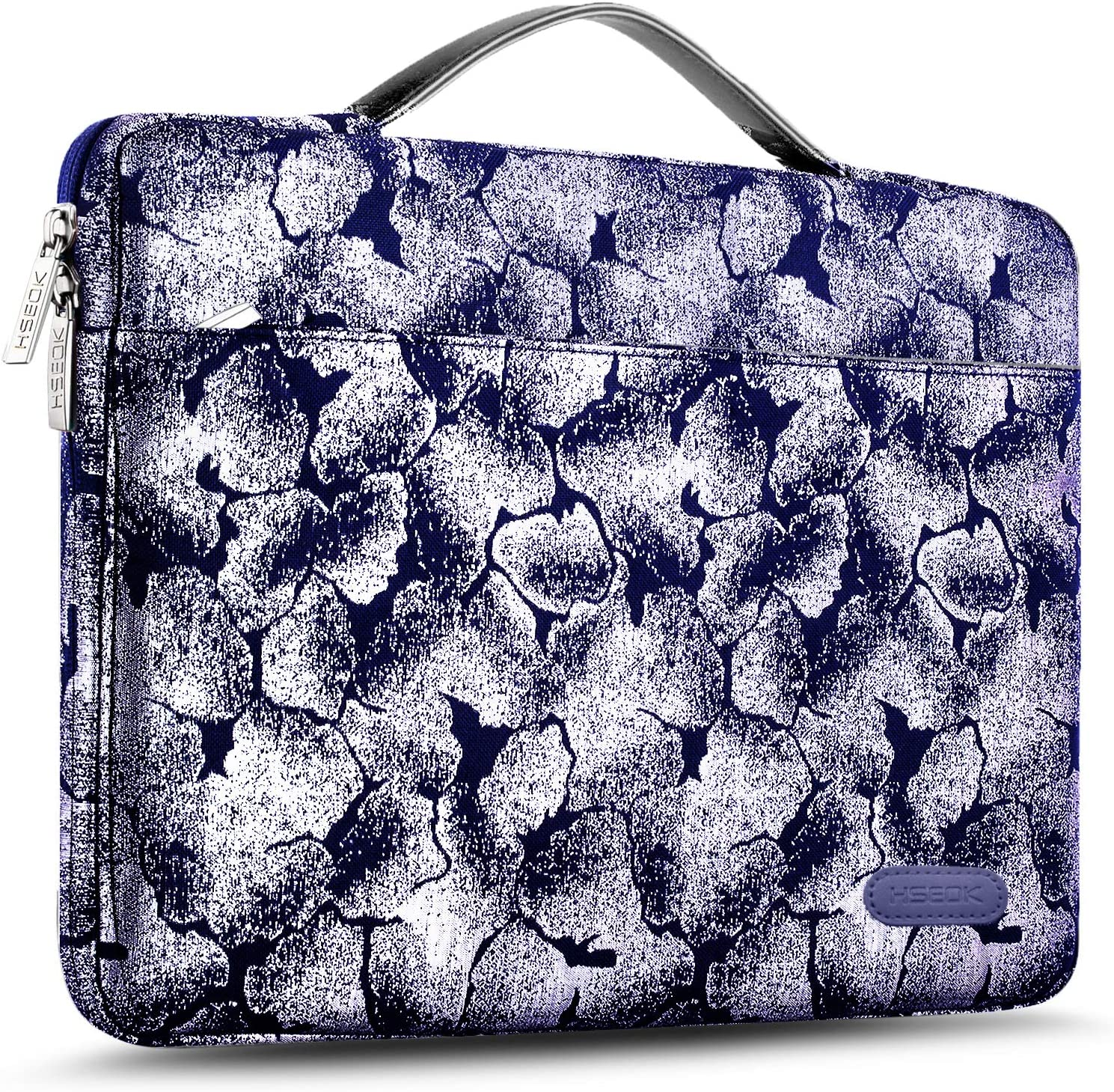 Hseok Laptop Sleeve 15 15.6 16 Inch Case Briefcase, Compatible MacBook Pro 16 15.4 inch, Surface Book 2/1 15 inch Spill-Resistant Handbag for Most Popular 15-16 inch Notebooks, Silver Flower BU
