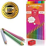 Colored Pencils for Adult Coloring Books. AMAZING Colored Pencils for Adults and Kids. Amerigo Set of 36 Colors + FREE Sharpener. Soft Core. Great Pencils for Kids as well.