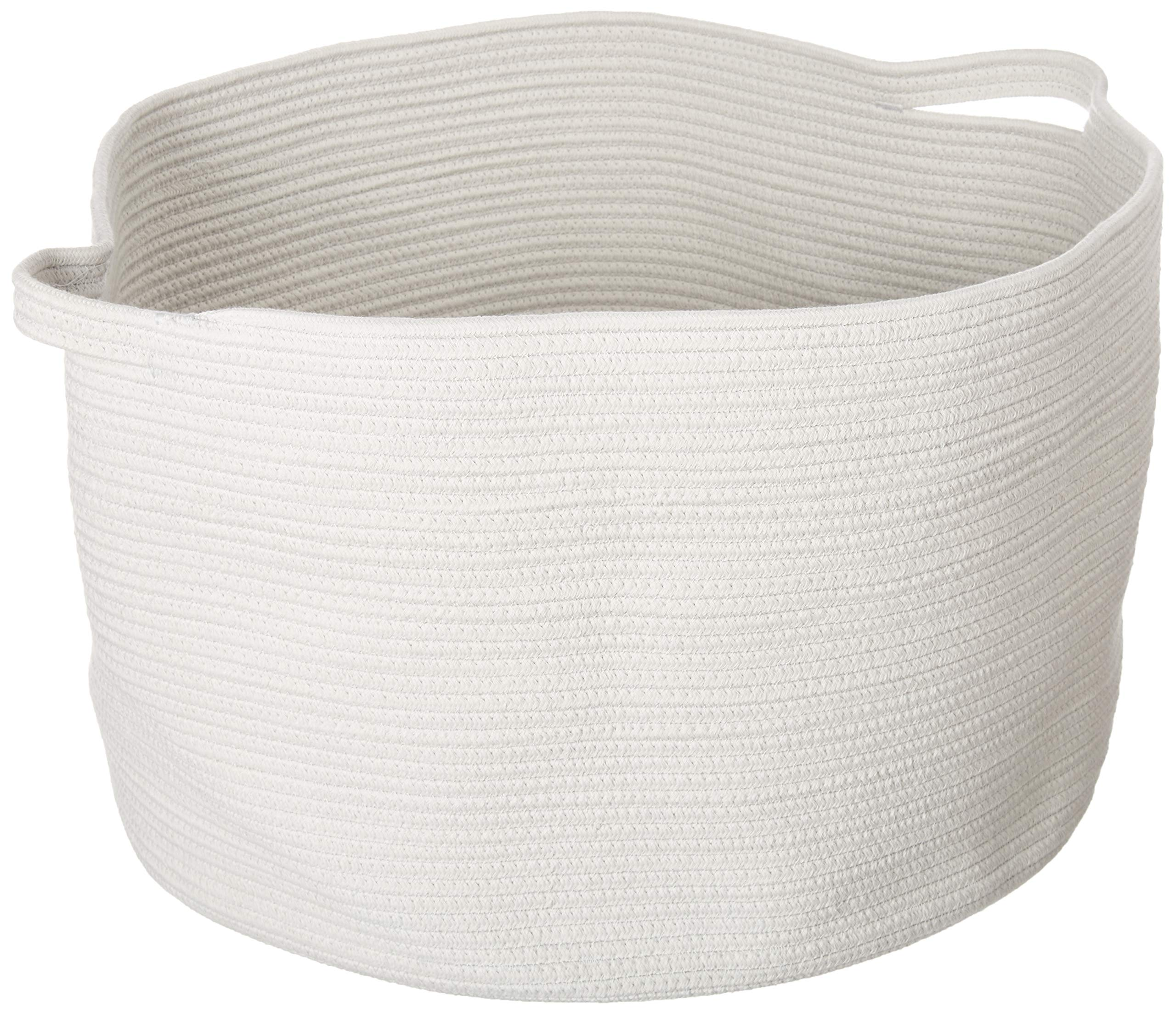 Zozha XXX Large Woven Cotton Round Storage Rope Basket with Handles 23.6 inches x 14.2 inches Foldable Perfect for Laundry Hamper Blankets Pillows Towels Toys Ice Gray with White Stitching by Zozha Home Goods