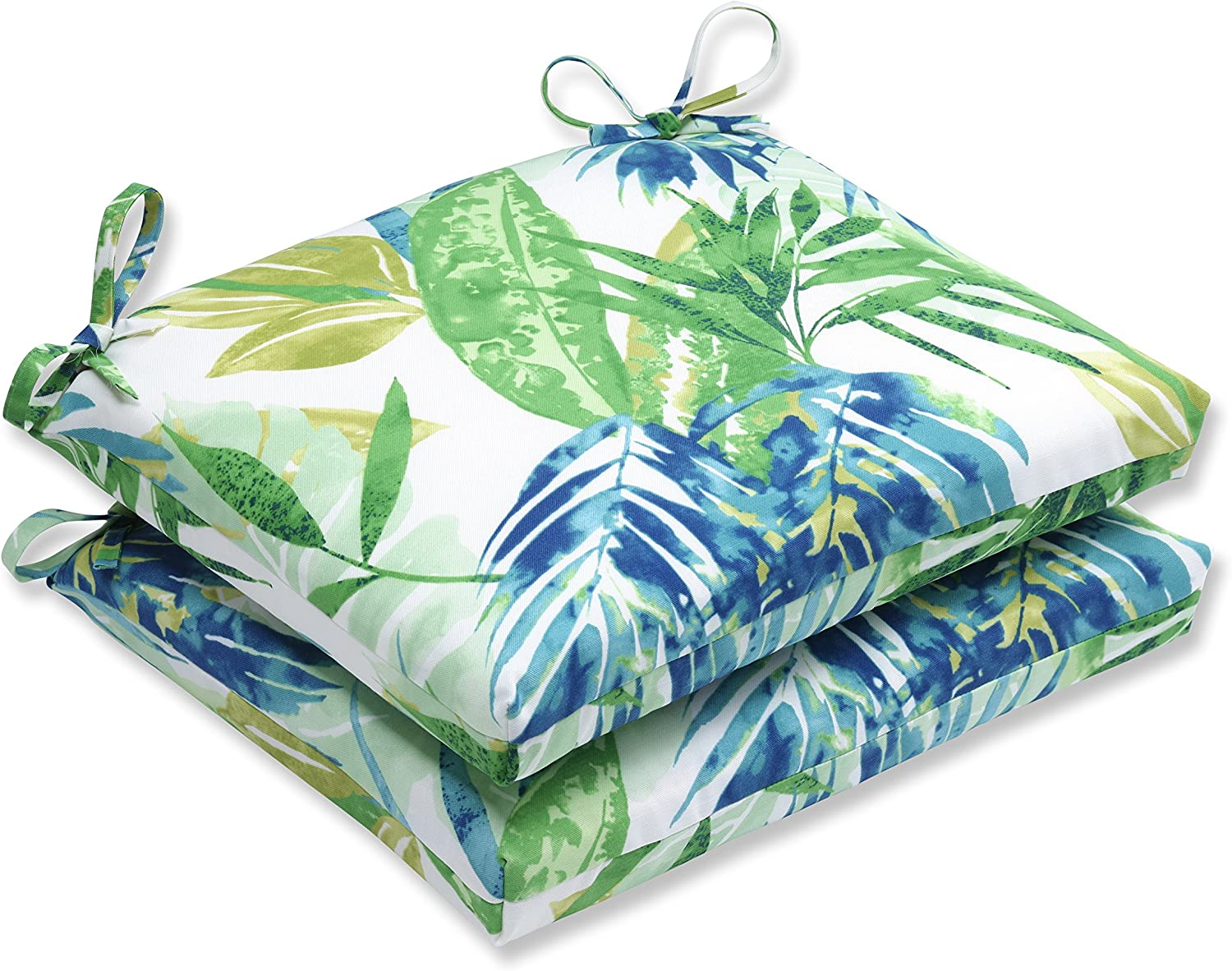 Pillow Perfect Outdoor Indoor Soleil Squared Corners Seat Cushion Set of 2 , Blue Green