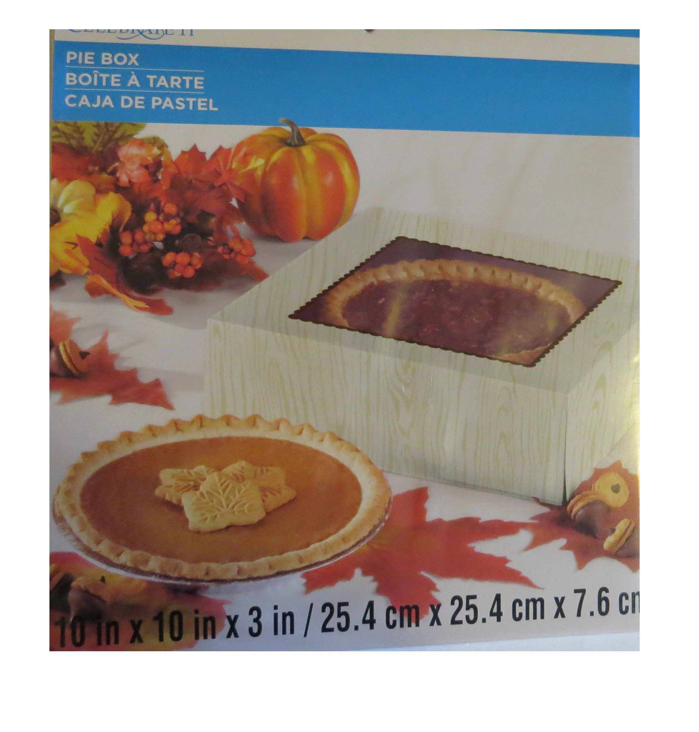 3 Thanksgiving Cardboard Pie Boxs Celebrate it Three cake Harvest pie boxes with Clear window