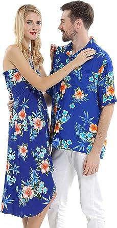 Hawaii Hangover Pareja a Juego Hawaiano Luau Fiesta de cruceros Vestido de la Camisa de Traje en Hibisco Azul: Amazon.es: Ropa y accesorios