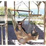 Mayan Hammock Chair - Large Cotton Rope Hanging Chair Swing With Wood Bar - Comfortable, Lightweight - For Indoor & Outdoor Porch, Yard, Patio and Bedroom - by Krazy Outdoors (Mocha Brown)