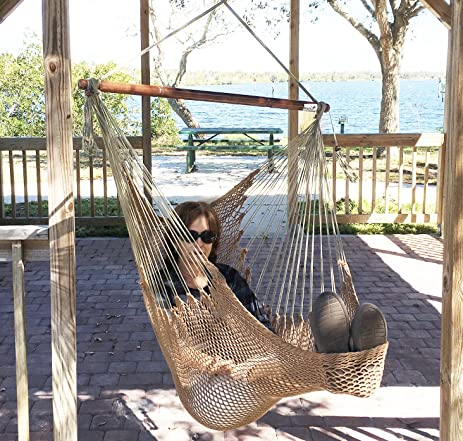 Mayan Hammock Chair - Large Cotton Rope Hanging Chair Swing With Wood Bar -  Comfortable,