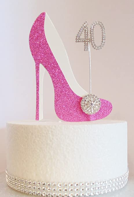 40th Birthday Cake Decoration Pink Shoe With Crystal Button Embellishment And Diamante Number Non