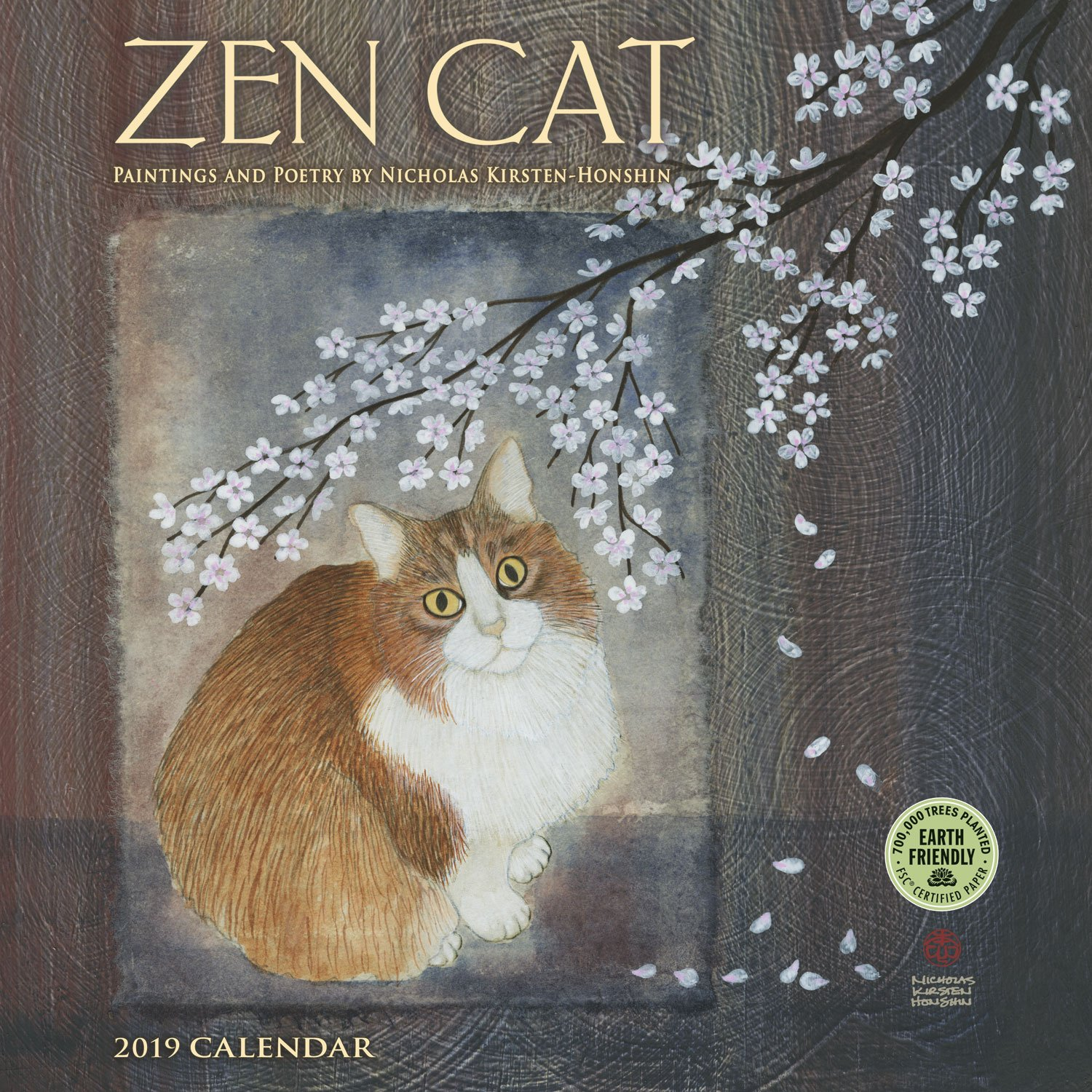 zen cat 2018 wall calendar paintings and poetry by nicholas kirsten honshin
