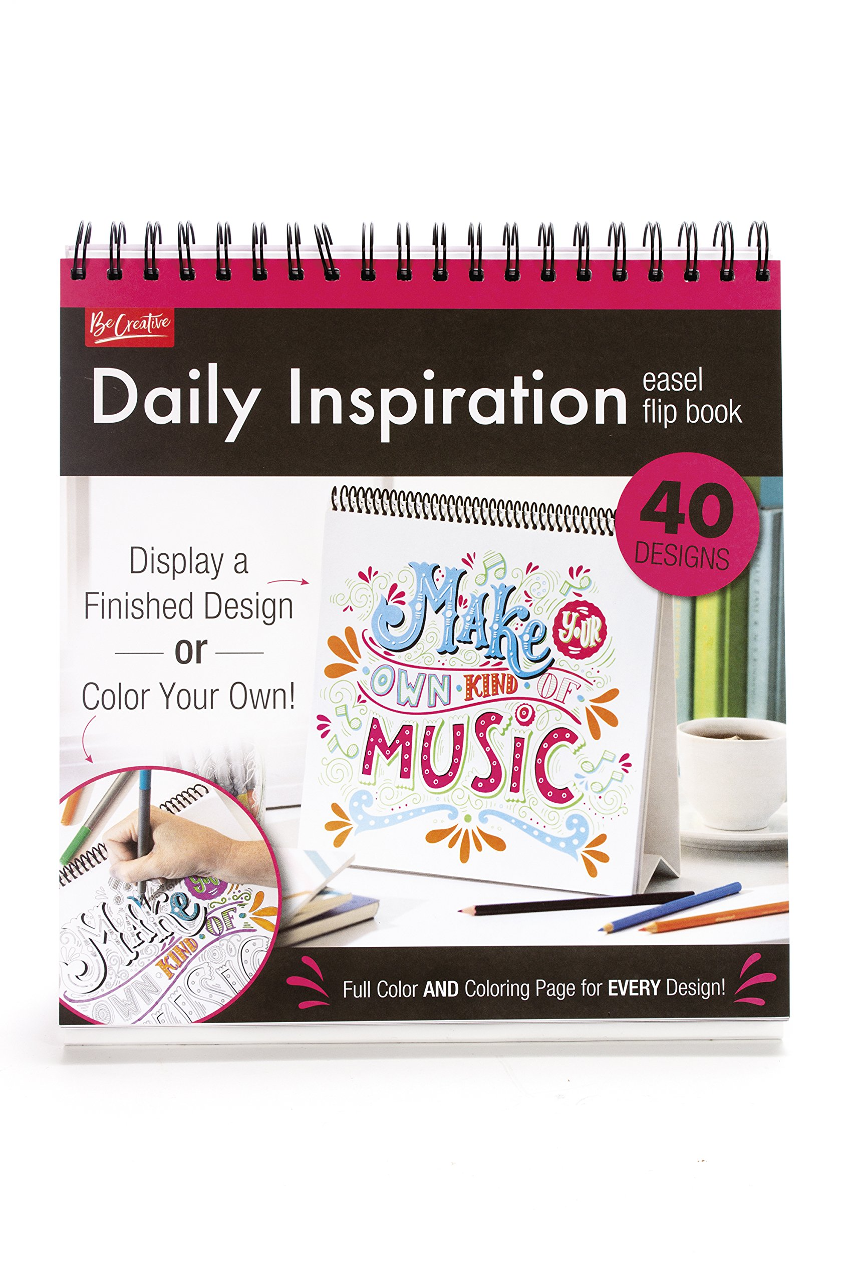 Download Daily Inspiration Easle Flip Book - 40 Designs To Color Or Display - Full Color and Coloring Page for Every Design! pdf epub