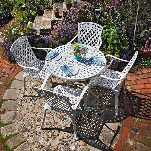 Lazy Susan Table Ronde 90 cm MIA et 4 chaises de Jardin