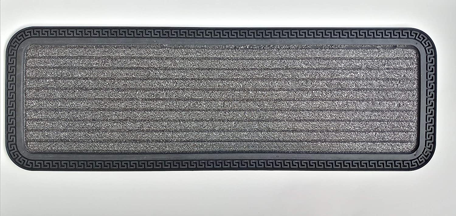 "Ottomanson Rubber Collection Non-Slip Design Stair Treads, 10"" X 30"", Grey Ribbed"