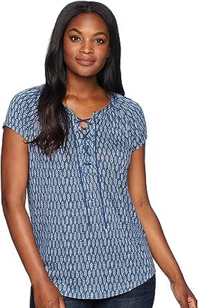 Chaps Women s Lace-up Jersey Top Blue Multi Large at Amazon Women s Clothing  store  b6d31c2d5