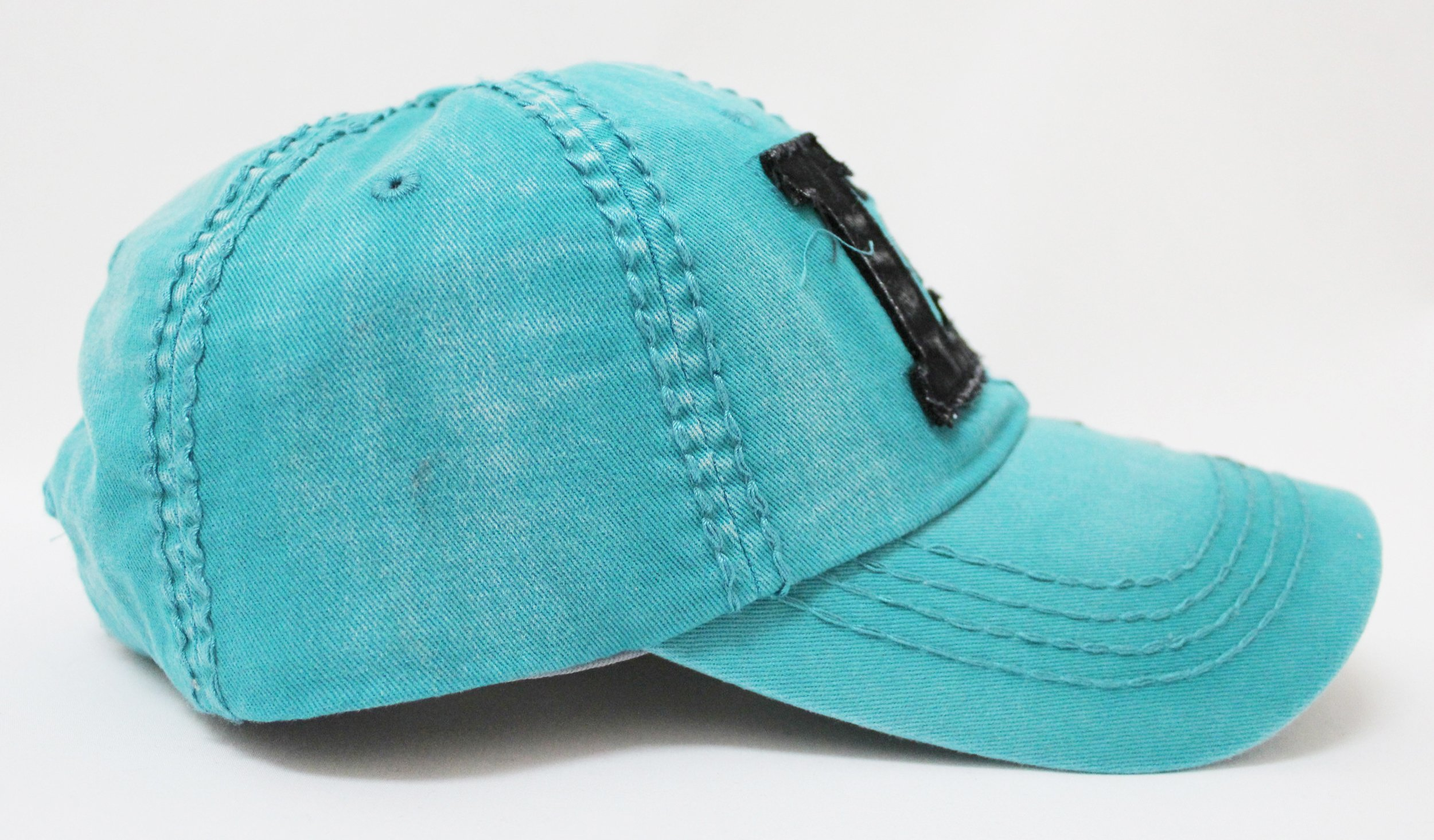 TURQUOISE/Black ''Live, Laugh, Love'' Patch on Vintage Cap w/ Contrast Stitch Writing by CAPS 'N VINTAGE (Image #2)