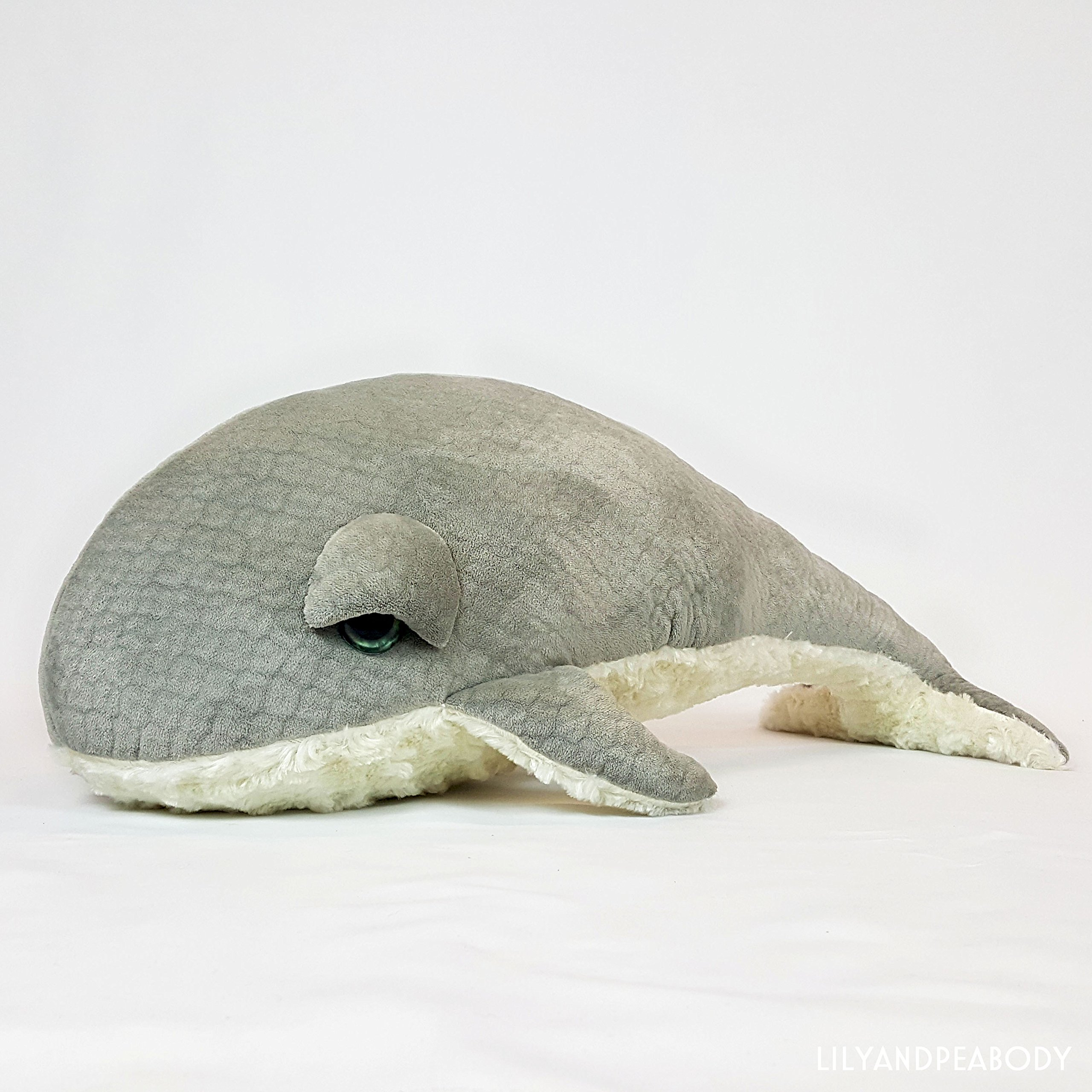 Whale Plush Stuffed Animal, Sea Creature Stuffed Animal, Ocean Life Soft Sculpture, Grey Whale Nursery Decor, Nautical Marine Animal