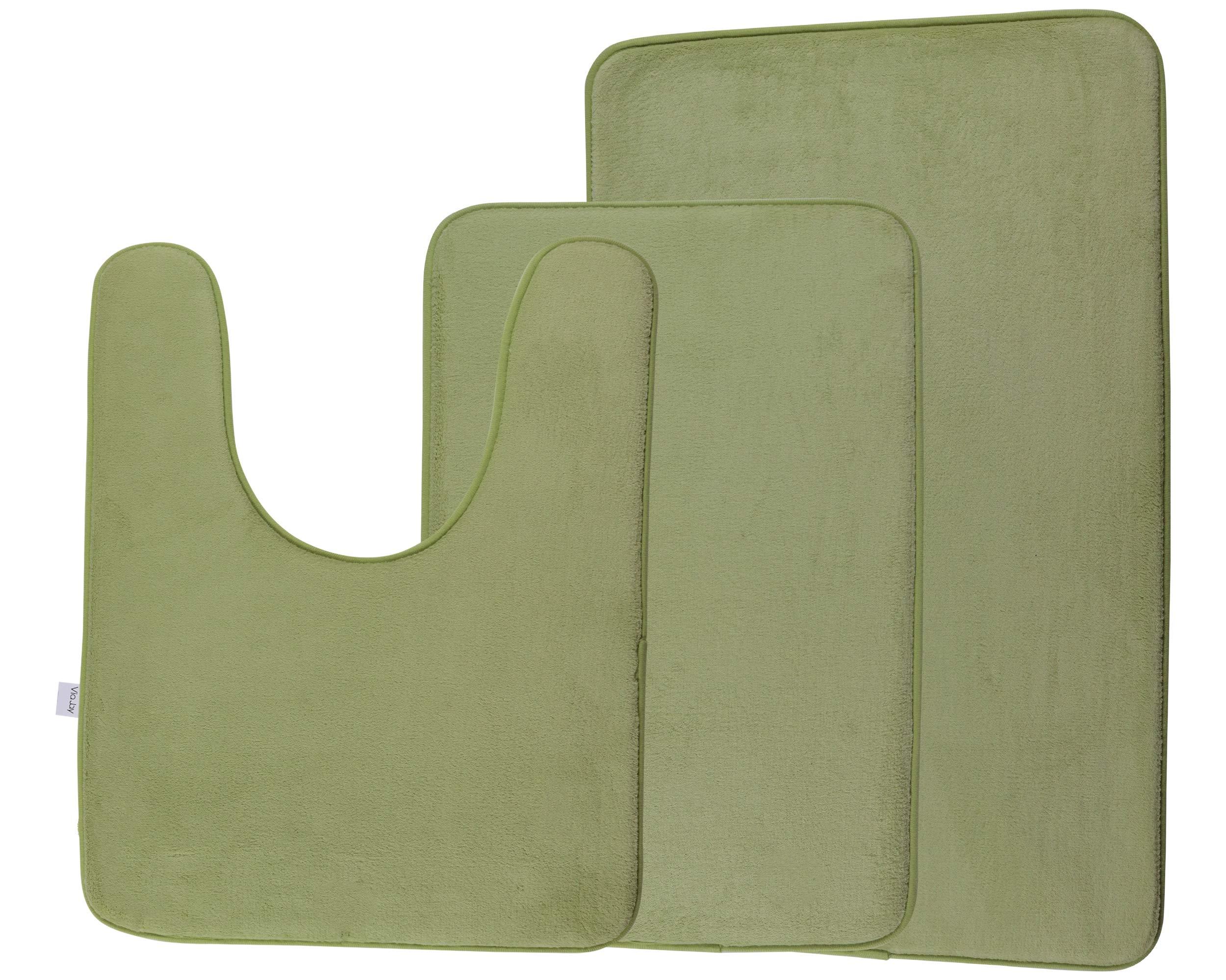 Via Jay Non Slip Memory Foam Bathroom Mat Rug 3 Pack Set, Includes 1 Small (16'' x 24''), 1 Large (20'' x 32''), 1 Contour Mat (20'' x 24'') - Sage Green - Microfiber Absorbent Soft, Shower