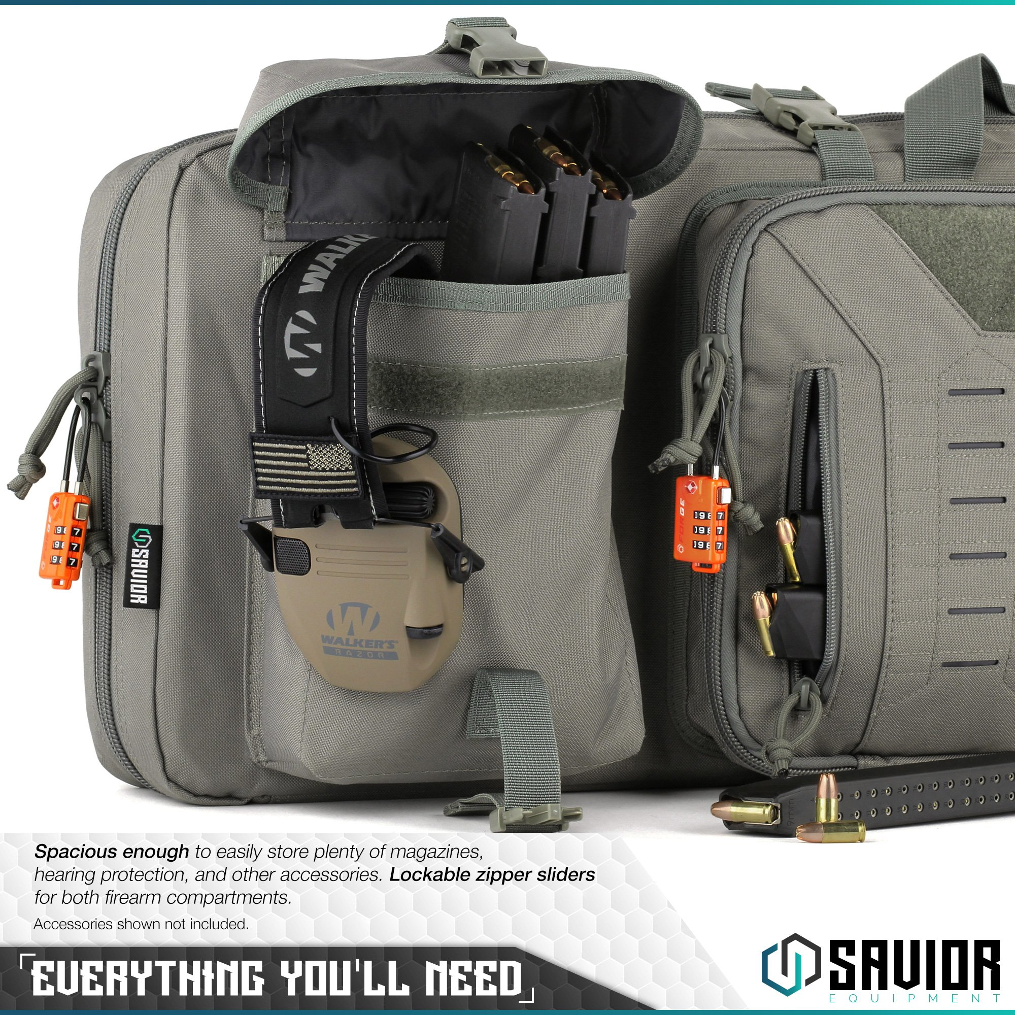 Savior Equipment Urban Warfare Tactical Double Carbine Long Rifle Bag Gun Case Firearm Backpack w/Pistol Handgun Case - 42 Inch Ash Gray by Savior Equipment (Image #5)
