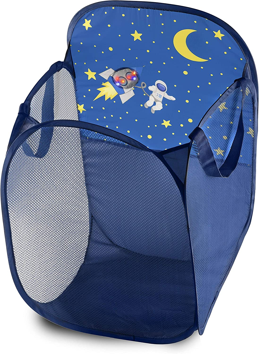 Kids Fun LED Space Ship Light-Up Mesh Pop-up Hamper, Collapsible Space Saving and Easy to Store, Reinforced Heavy Duty Side Carry Handles