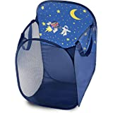 Kids Fun LED Space Ship Light-Up Mesh Pop-up Hamper, Collapsible Space Saving and Easy to Store, Reinforced Heavy Duty…
