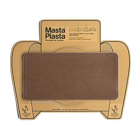 MastaPlasta Reparador Cuero, Polipiel y Skai - Parches Rectangulo Grande Liso (200x100mm) (Canela)