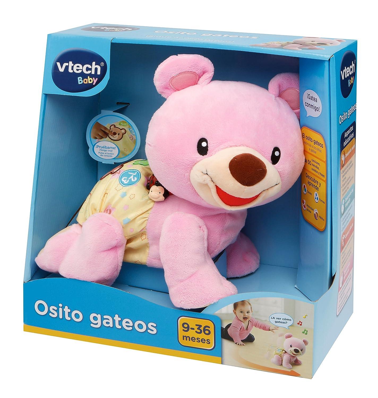 VTech- Osito gateos, Oso Peluche Interactivo, Suave Animal gateador Que estimula la curiosidad del bebé y Anima a Seguir imitándolo, Color Rosa ...