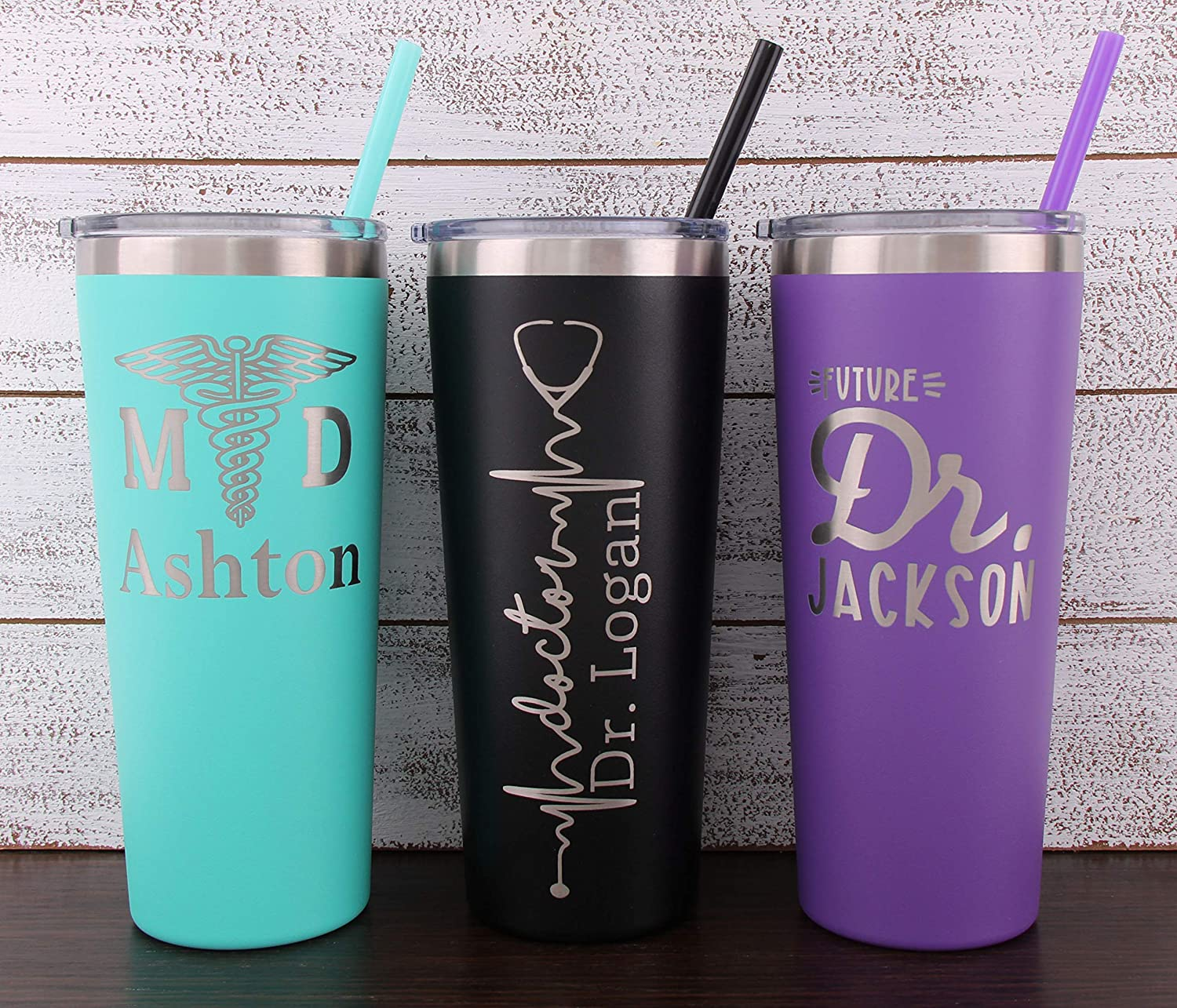 Personalized Doctor Laser Engraved 22 oz Tumbler with Straw Doctor MD Doctor Gift for Men