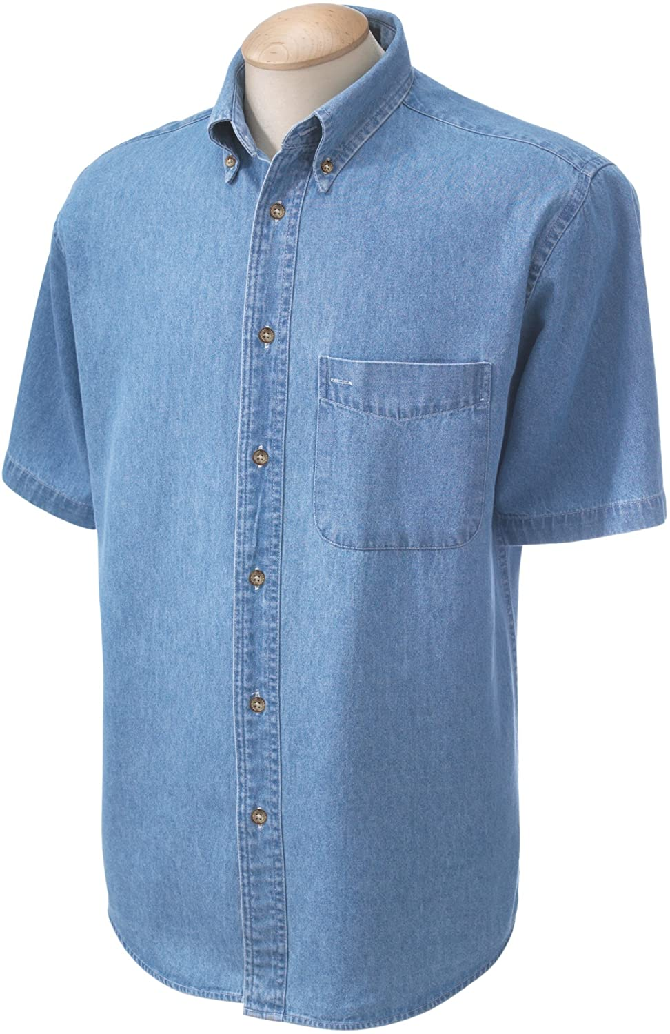 Harriton M550S - Men's 6.5 oz. Short-Sleeve Denim Shirt M40581