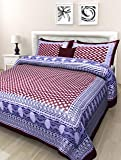 BedZone Traditional Jaipuri Print 1 Double Bed Sheet with 2 Pillow Covers (100% Cotton)