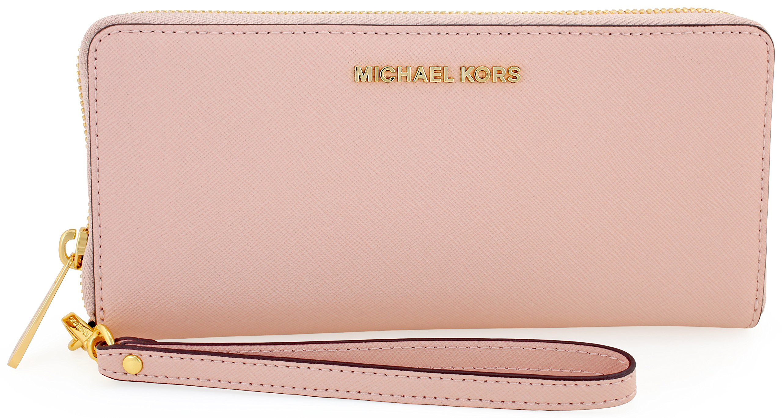 MICHAEL KORS Jet Set Travel Leather Continental Wristlet in Soft Pink by Michael Kors