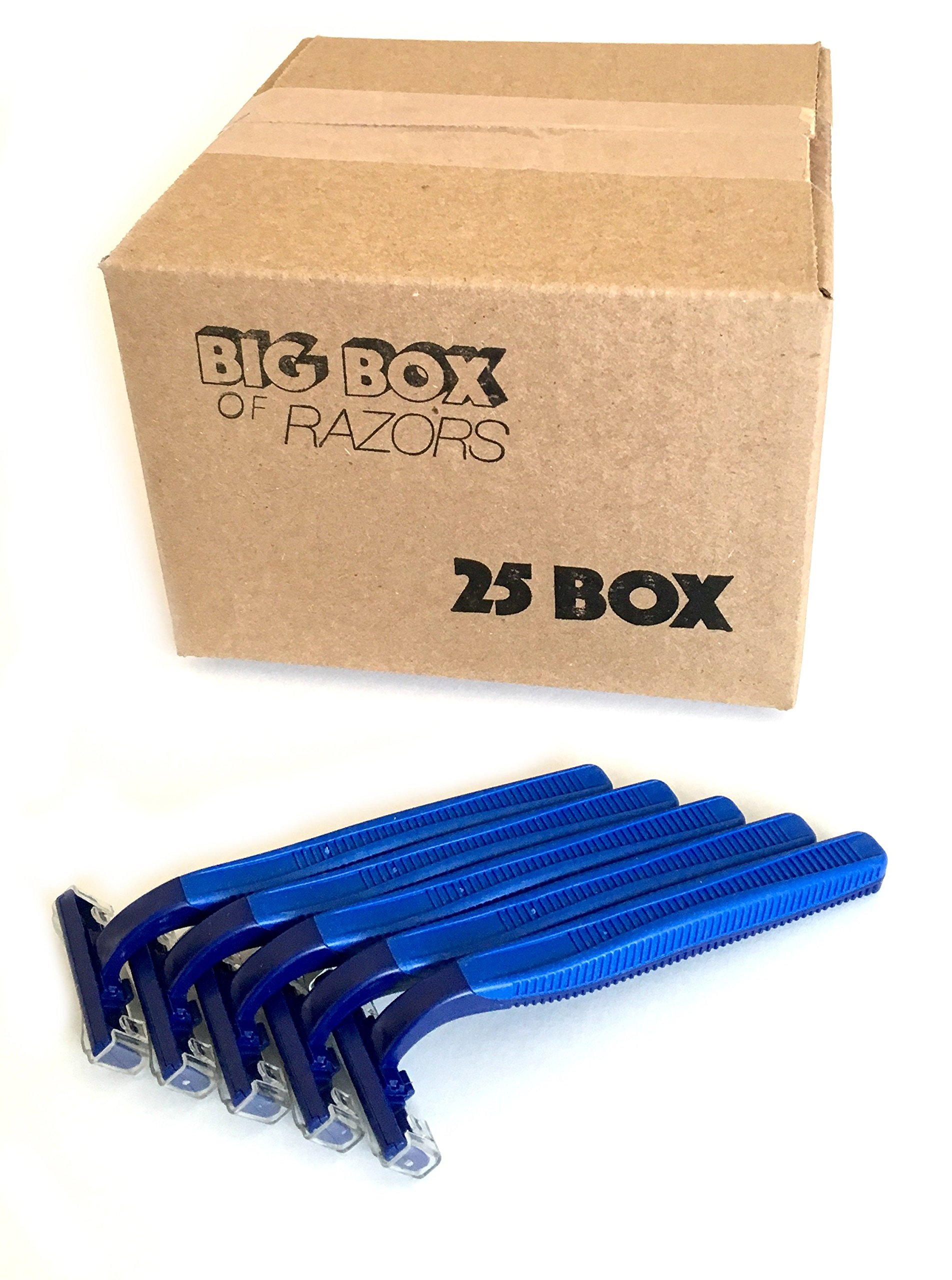 25 Box of Blue Wholesale Bulk Disposable Twin Blade Razors for Men & Women