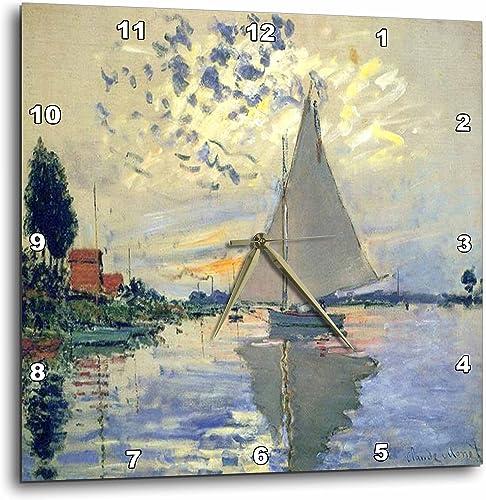 3dRose Print of Monet Painting Sailboat at Le Petit-Wall Clock, 10-inch DPP_203678_1