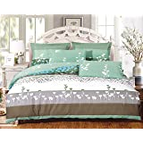 Swanson Beddings Buttercups 3-Piece 100% Cotton Bedding Set: Duvet Cover and Two Pillow Shams (King)