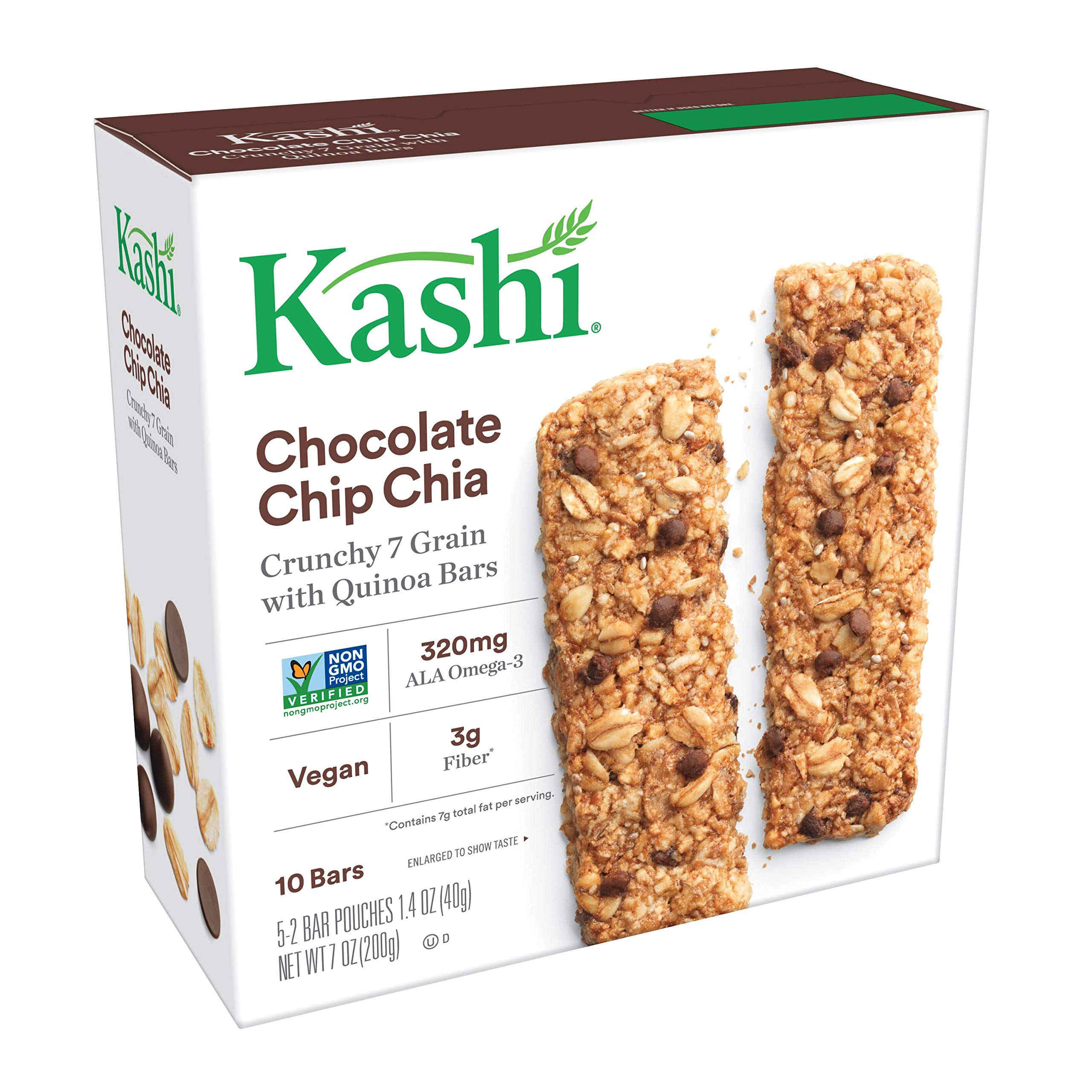 Kashi, Crunchy 7 Grain with Quinoa Bars, Chocolate Chip Chia, Non-GMO Project Verified, 7 oz (10 Count)