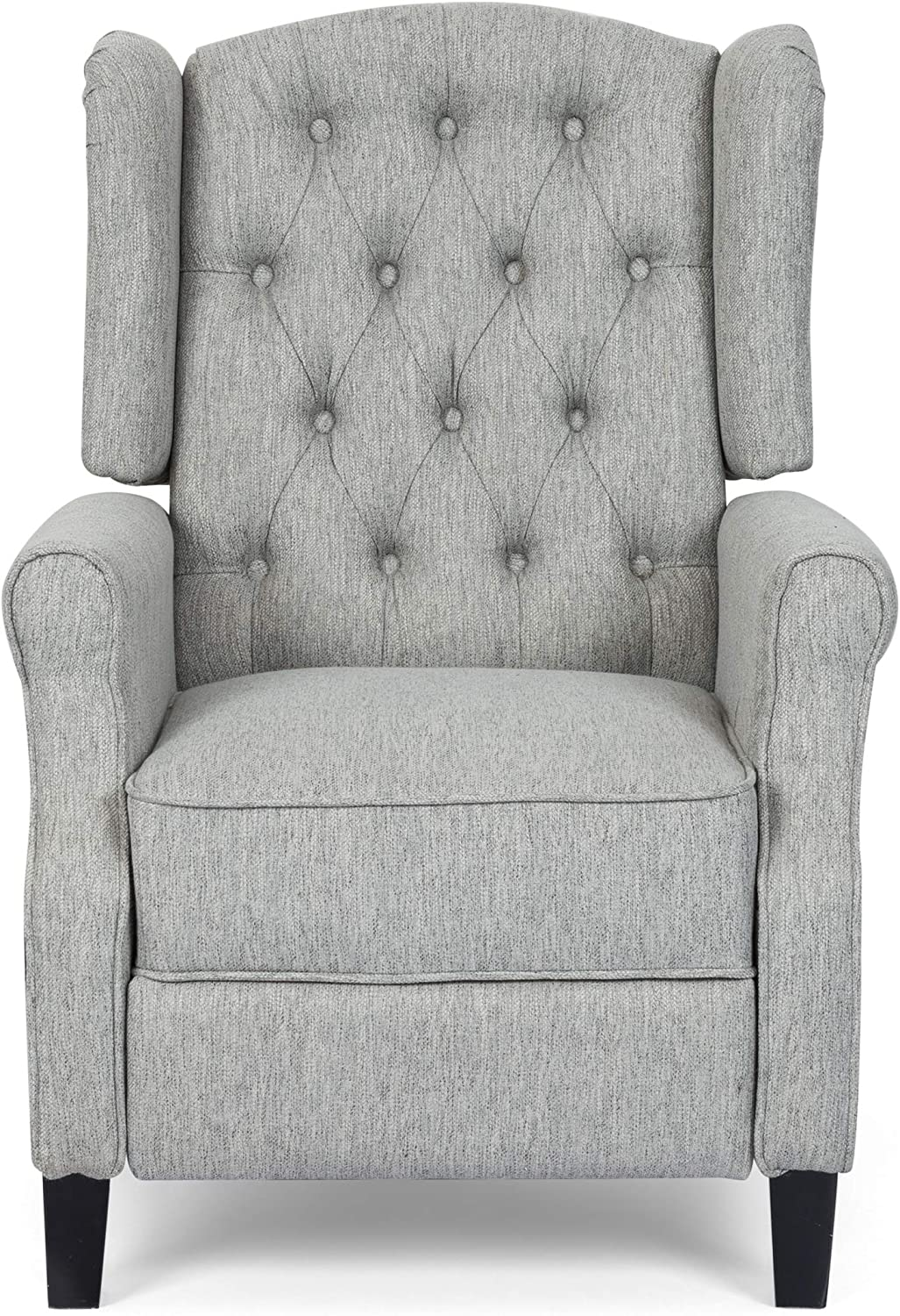 Christopher Knight Home Sarah Fabric Recliner, Light Gray, Dark Brown
