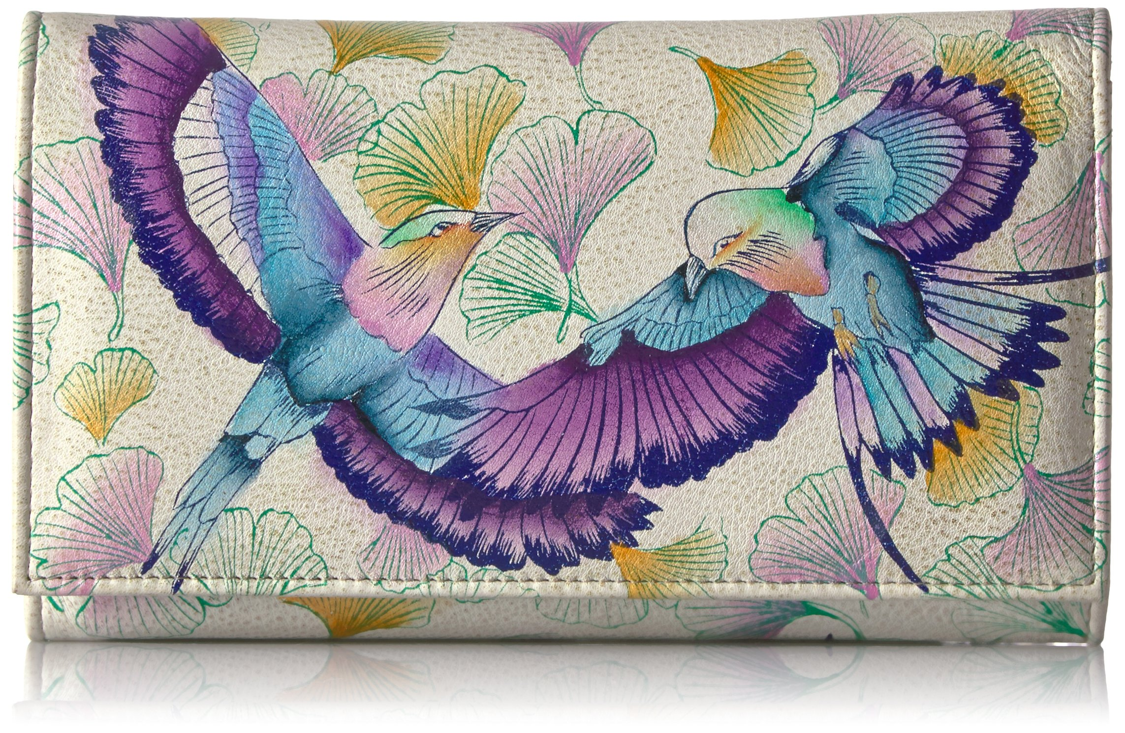 Anuschka Handpainted Leather Checkbook Wallet/Clutch,wings Of Hope Wallet, WINGS OF HOPE, One Size