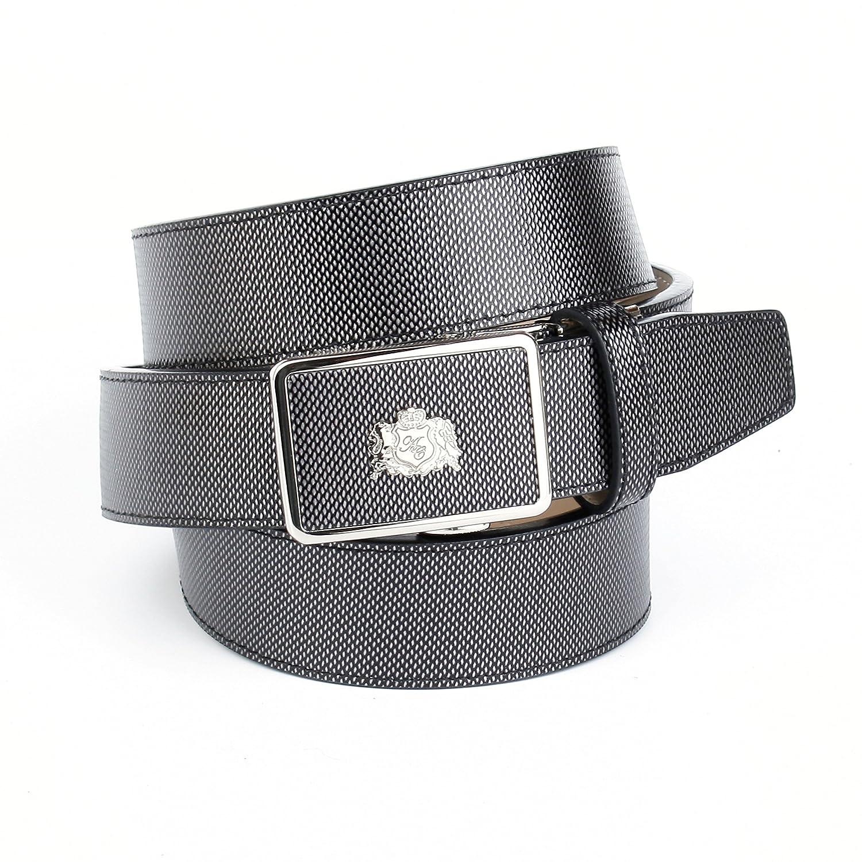 Anthoni Crown Designer Herrengürtel Leder antrazit grau 3,5 cm Breite Automatik 85cm-120cm/17M71