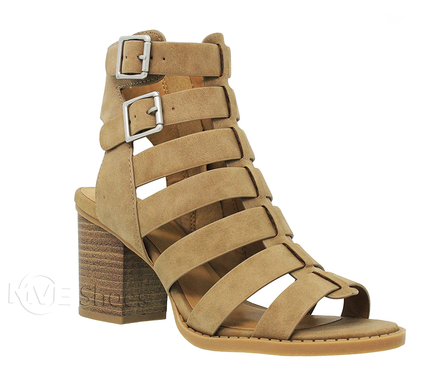 MVE Shoes Women's Open Toe Cut Out Mid Heel Sandal - Ankle Strap Faux Leather Dress Shoes - Sexy Stacked Sandal B0799QT6QC 10 B(M) US|Taupedispu*n