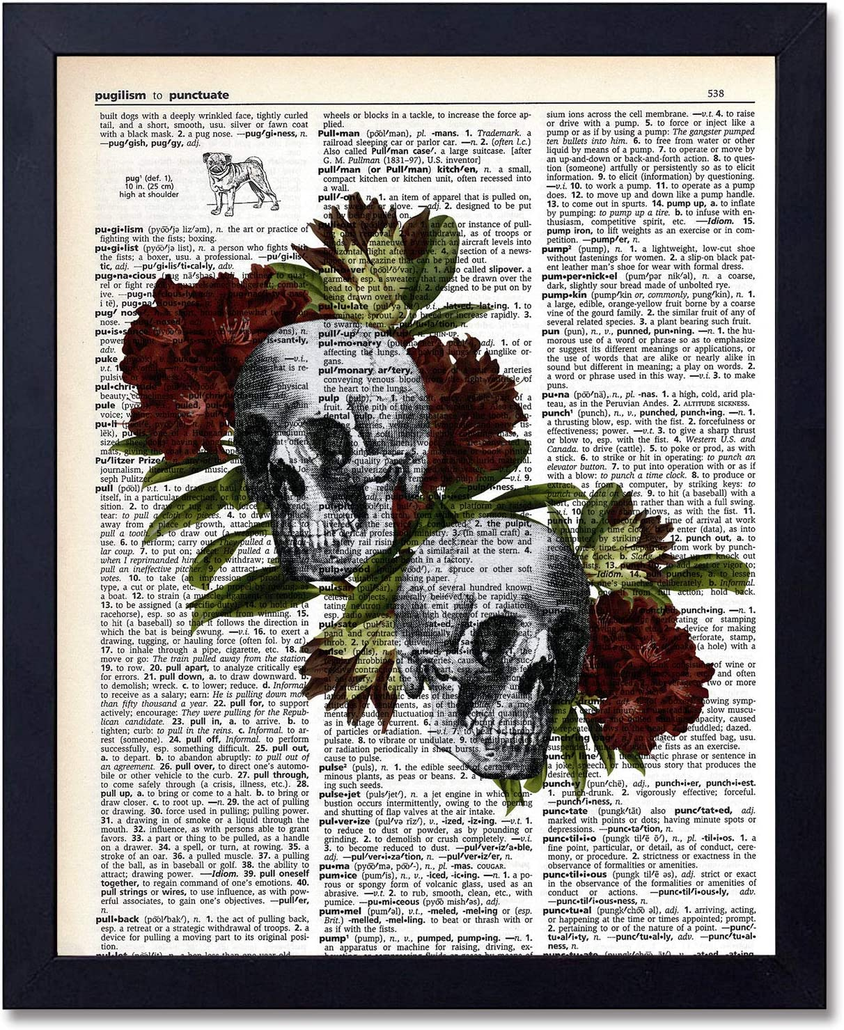 Organs & Flower Anatomy Skull Art Prints - Dictionary Steampunk Medical Wall Art Goth Room Decor Gift for Office, Doctor's Office, Gift, Physician, Nurse, Unframed 8x10 inches