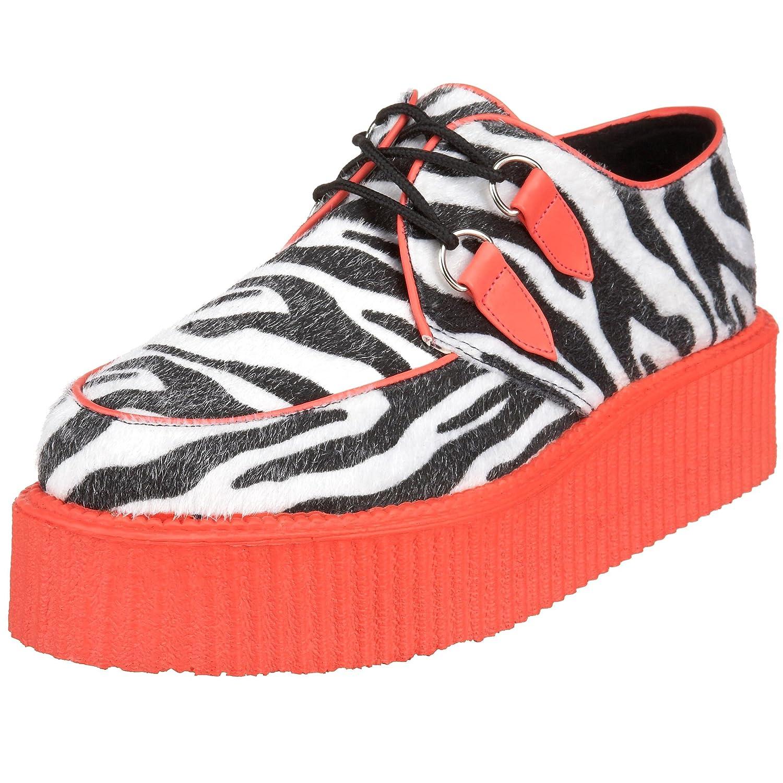 Demonia - Zapatos oxford hombre 36 EU|Zebra Fur-UV Red