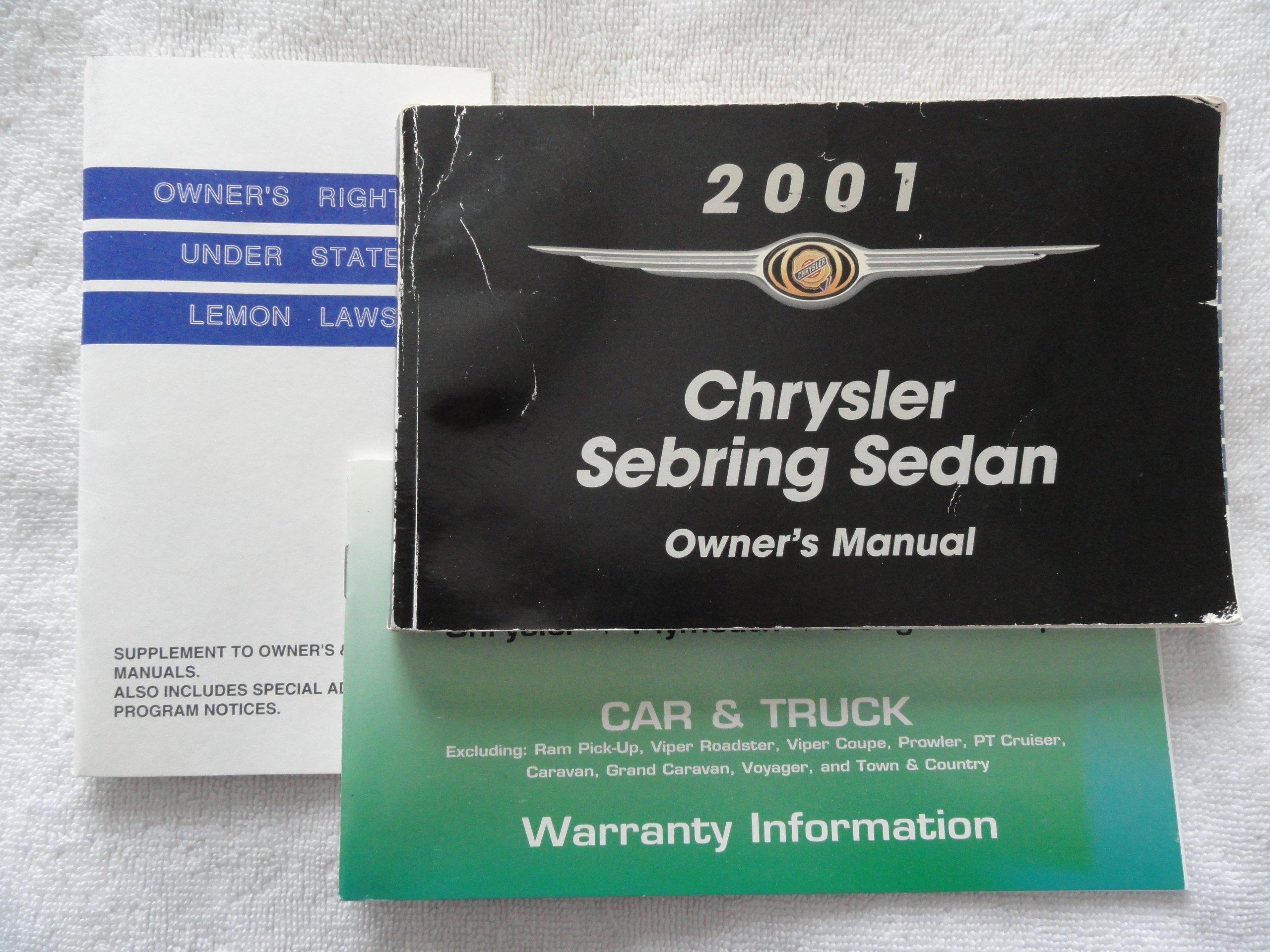 2001 chrysler sebring sedan owners manual chrysler amazon com books rh amazon com chrysler sebring owners manual 2008 chrysler sebring owners manual 2005
