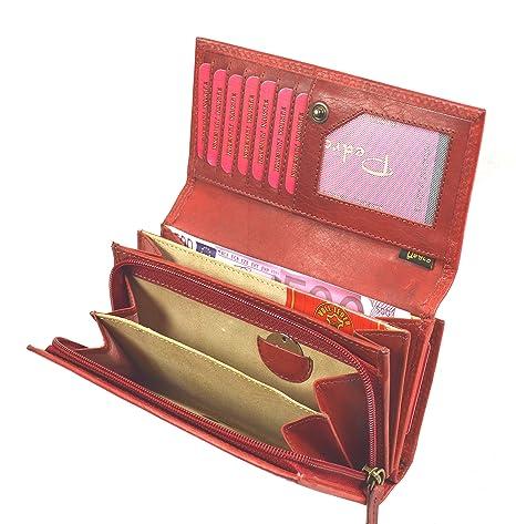 026afd49a8a40 flevado Große Damen Leder Geldbörse Damen Portemonnaie mit viel Stauraum in  Red Vintage Design mit 22 Kartenfächern  Amazon.de  Koffer