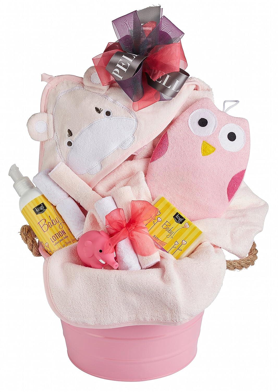 Newborn Baby Girl Bath Gift Basket with Hooded Towel, Washclothes, Organic Soap and Body Lotion Pellatt Cornucopia